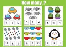 Compte du jeu éducatif d'enfants, activité d'enfants Combien d'objets chargent photographie stock