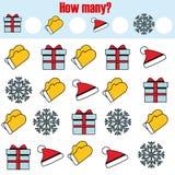Compte du jeu éducatif d'enfants, activité d'enfants Combien d'objets chargent Noël, thème de vacances d'hiver de nouvelle année Images stock
