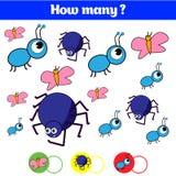 Compte du jeu éducatif d'enfants, feuille d'activité d'enfants Combien d'objets chargent Étude des mathématiques, nombres Photo stock