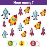 Compte du jeu éducatif d'enfants, feuille d'activité d'enfants Combien d'objets chargent Étude des mathématiques, nombres, cosm d photo stock