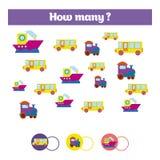 Compte du jeu éducatif d'enfants, feuille d'activité d'enfants Combien d'objets chargent Étude des mathématiques, nombres, thème  Photo stock