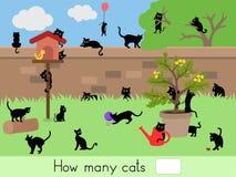 Compte du jeu éducatif d'enfants, feuille d'activité d'enfants Combien de chats Images libres de droits