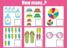 Compte du jeu éducatif d'enfants, fiche de travail d'activité d'enfants Combien d'objets apprentissage des mathématiques illustration stock