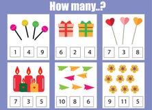 Compte du jeu éducatif d'enfants, fiche de travail d'activité d'enfants Combien d'objets chargent illustration stock