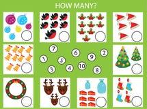 Compte du jeu éducatif d'enfants, fiche de travail d'activité d'enfants Combien d'objets tâche, Noël, thème de vacances d'hiver Photo stock