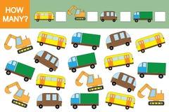 Compte du jeu éducatif pour des enfants Combien de voitures transporte ? Mathématiques illustration stock