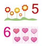 Compte du jeu : numéro 5 et 6 illustration de vecteur