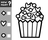 Compte du jeu pour des enfants Comptez combien de décorations de petit gâteau Photo libre de droits