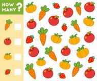 Compte du jeu pour des enfants Comptez combien de fruits, légumes illustration stock