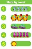 Compte du jeu pour les enfants préscolaires Éducatif un jeu mathématique Images stock