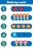 Compte du jeu pour les enfants préscolaires Éducatif un jeu mathématique Photos libres de droits