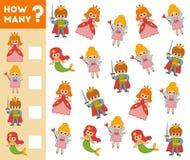 Compte du jeu pour les enfants préscolaires caractères de conte de fées illustration libre de droits