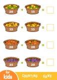 Compte du jeu pour les enfants préscolaires Fiches de travail d'addition Corbeilles de fruits illustration libre de droits