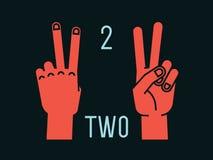 Compte sur des doigts Numéro deux Geste Mains stylisées avec l'index et le doigt moyen  Vecteur Images stock