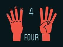 Compte sur des doigts Numéro quatre Geste Mains stylisées avec l'index, le milieu, l'anneau et les auriculaires  Vecteur Photos stock