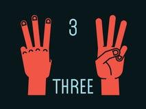 Compte sur des doigts Numéro trois Geste Mains stylisées avec des doigts d'index, de milieu et d'anneau  Vecteur Images stock