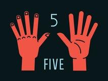 Compte sur des doigts Numéro un… Geste Mains stylisées avec tous les doigts  Vecteur Photo stock