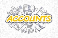 Comptes - texte jaune de bande dessinée Concept d'affaires illustration libre de droits