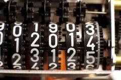 Compteur avec l'année 2014 dans le mètre photographie stock