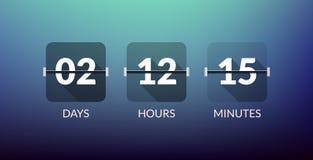 Compteur d'horloge de vecteur de minuterie de Flip Countdown De compte signe plat d'affaires de vecteur de jour vers le bas Image stock