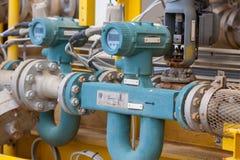 Compteur de débit pour le pétrole, le liquide et le gaz de mesure dans le système Photographie stock libre de droits