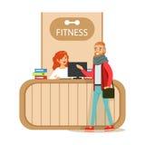 Compteur de réception de centre de fitness avec la visite femelle de membre du club d'And Computer With de réceptionniste illustration de vecteur