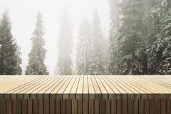 Compteur en bois dans la forêt images stock