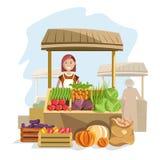 Compteur en bois de rue avec les légumes organiques frais et le vendeur féminin illustration stock