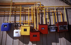 Compteurs colorés de gaz Image libre de droits
