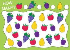 Comptez combien de fruits et de baies framboise, raisins, prune, coing illustration stock