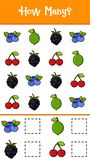 Comptez combien de fruits illustration libre de droits