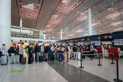 Comptoir d'enregistrement d'Air China à l'aéroport de Pékin en Chine Image libre de droits