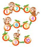 Comptons à dix avec le fruit et le singe illustration libre de droits