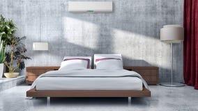 Compu brilhante moderno da ilustração da rendição dos interiores 3D da sala da cama fotografia de stock