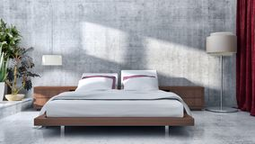 Compu luminoso moderno dell'illustrazione della rappresentazione degli interni 3D della stanza del letto royalty illustrazione gratis