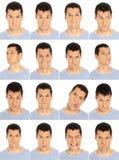 Compuesto adulto de las expresiones de la cara del hombre aislado en w Fotos de archivo
