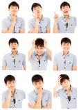Compuesto asiático de las expresiones de la cara del hombre joven aislado en blanco Foto de archivo libre de regalías