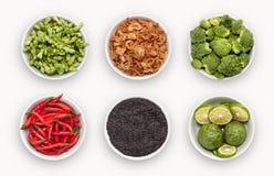Compuesto con muchas diversas variedades de ingredientes imagen de archivo