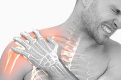 Compuesto de Digitaces del dolor del hombro Highlighted del hombre foto de archivo libre de regalías