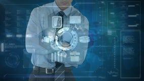 Compuesto de Digitaces del hombre de negocios que toca la pantalla futurista stock de ilustración