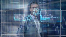 Compuesto de Digitaces del hombre de negocios que toca la pantalla futurista libre illustration