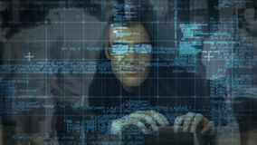 Compuesto de Digitaces del pirata informático y del interfaz digital libre illustration