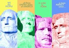 Compuesto de Digitaces: El monte Rushmore y preámbulo al U S constitución ilustración del vector