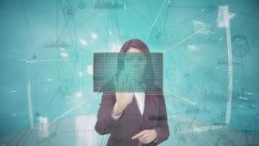 Compuesto de Digitaces de la mujer de negocios que toca la pantalla futurista libre illustration