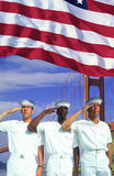 Compuesto de Digitaces: Marineros americanos étnico diversos, bandera americana, puente Golden Gate Foto de archivo libre de regalías