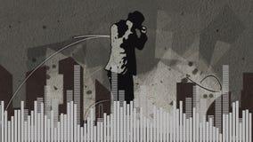 Compuesto de Digitaces de un hombre de baile y de barras digitales ilustración del vector