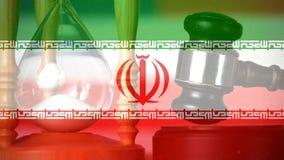 Compuesto de Digital de la bandera de Irán del grunge y del vidrio de la hora almacen de video
