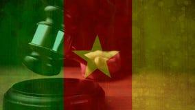 Compuesto de Digital de la bandera y del mazo del Camerún del grunge almacen de video