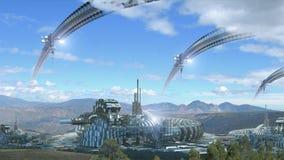 Compuesto de la arquitectura de la ciencia ficción con paisajes escénicos Foto de archivo libre de regalías