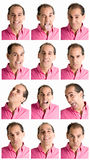 Compuesto de las expresiones de la cara del hombre aislado en blanco Foto de archivo